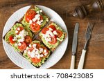 toasts with mashed avocado ...   Shutterstock . vector #708423085