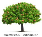 red apple tree isolated 3d... | Shutterstock . vector #708430327