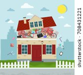 the concept of excessive... | Shutterstock .eps vector #708431221