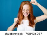 attractive young redhead woman... | Shutterstock . vector #708436087