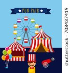amusement fun fair theme park... | Shutterstock .eps vector #708437419