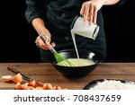 male hands chef pours the milk... | Shutterstock . vector #708437659