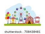 carnival fun fair festival... | Shutterstock .eps vector #708438481