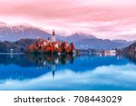 bled lake in slovenia  famous... | Shutterstock . vector #708443029