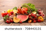 assorted raw fruits and... | Shutterstock . vector #708443131