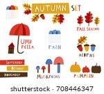 autumn set  cute templates for... | Shutterstock .eps vector #708446347