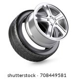 aluminum alloy wheel and tyre... | Shutterstock . vector #708449581