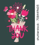 thank you flower bouquet with... | Shutterstock .eps vector #708449605