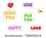 set of love sticker. flat and... | Shutterstock .eps vector #708450019