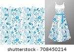 flower embroidery on dress mock ...   Shutterstock . vector #708450214