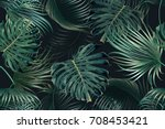 tropical palm leaves  jungle... | Shutterstock .eps vector #708453421