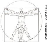 a human figure like leonard da... | Shutterstock . vector #708457111