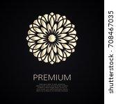 golden flower shape. gradient... | Shutterstock .eps vector #708467035