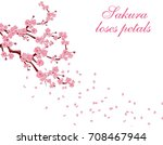 branches with pink flowers and...   Shutterstock .eps vector #708467944