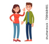 young smiling couple in casual... | Shutterstock .eps vector #708468481