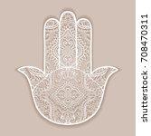 vector boho hamsa hand ...   Shutterstock .eps vector #708470311