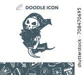 grim reaper doodle | Shutterstock .eps vector #708470695