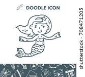 mermaid doodle | Shutterstock .eps vector #708471205