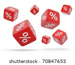 Falling red cubes with percent isolated on white background - stock photo