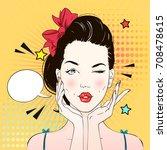 pop art surprised woman face... | Shutterstock .eps vector #708478615
