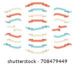 ribbon set. retro styled... | Shutterstock . vector #708479449