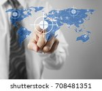 hand touch virtual icon of... | Shutterstock . vector #708481351