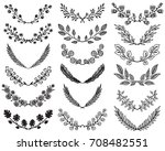 set of hand drawn vector floral ... | Shutterstock .eps vector #708482551