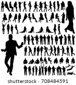 collection of silhouettes of a... | Shutterstock . vector #708484591