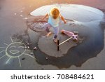 a wet child who preferred... | Shutterstock . vector #708484621