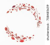 autumn composition. wreath made ... | Shutterstock . vector #708485659
