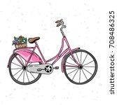 cute pink hand drawn bicycle.... | Shutterstock .eps vector #708486325