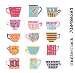 cute tea cups set. tea time...   Shutterstock .eps vector #708486361