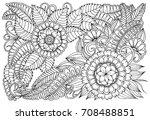 flower pattern in black and... | Shutterstock .eps vector #708488851