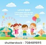 Children at the amusement park | Shutterstock vector #708489895