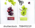 colored set green red grapes... | Shutterstock . vector #708493219