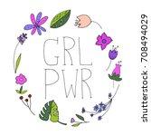 girl power vector illustration. ... | Shutterstock .eps vector #708494029