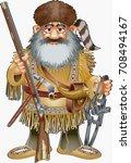 cartoon style fur hunter with...   Shutterstock .eps vector #708494167