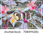 vector tropical background with ... | Shutterstock .eps vector #708494281