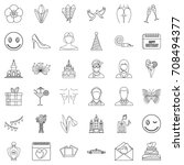 happy woman icons set. outline... | Shutterstock .eps vector #708494377