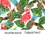 pink flamingos  exotic birds ... | Shutterstock .eps vector #708497947