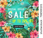 sale banner with tropical...   Shutterstock .eps vector #708500101