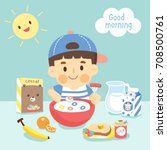 cute boy eating breakfast  | Shutterstock .eps vector #708500761