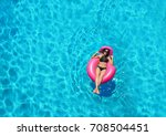 beautiful young woman with... | Shutterstock . vector #708504451