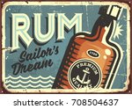rum vintage tin sign. retro... | Shutterstock .eps vector #708504637