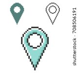 pixel icon of location in three ... | Shutterstock .eps vector #708506191