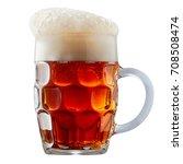 mug of frosty dark red beer...   Shutterstock . vector #708508474