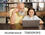 grandfather and granddaughter... | Shutterstock . vector #708509395