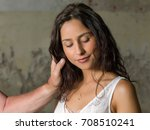 comforting hands around the... | Shutterstock . vector #708510241