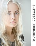 beautiful young blond female... | Shutterstock . vector #708511549