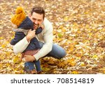 dad and daughter in the autumn... | Shutterstock . vector #708514819